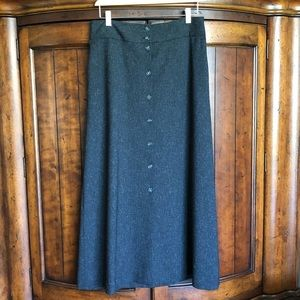 Vince Camuto Gray Button Front Tweed Midi Skirt
